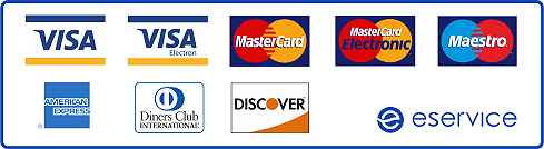 VISA, VISA Electron, MasterCard, MasterCard Electronic, Maestro, American Express, Diners Club International, Discover, eservice